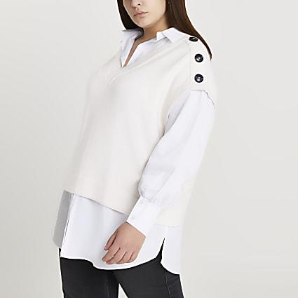 Plus cream knitted vest shirt