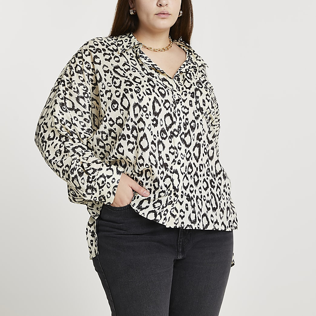 Plus cream leopard print dipped hem shirt