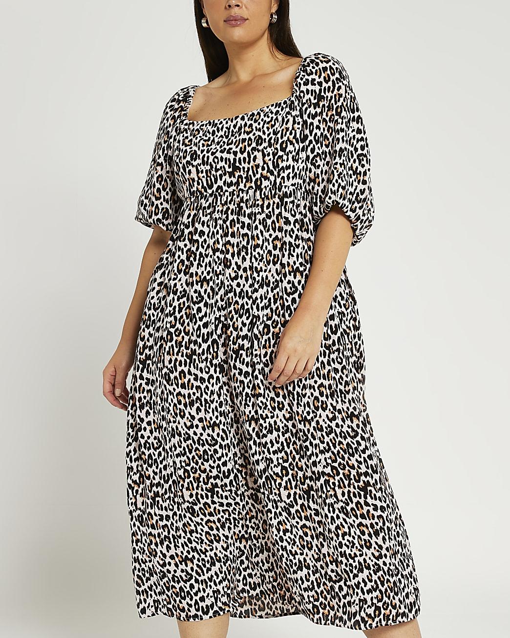 Plus cream leopard print midi dress