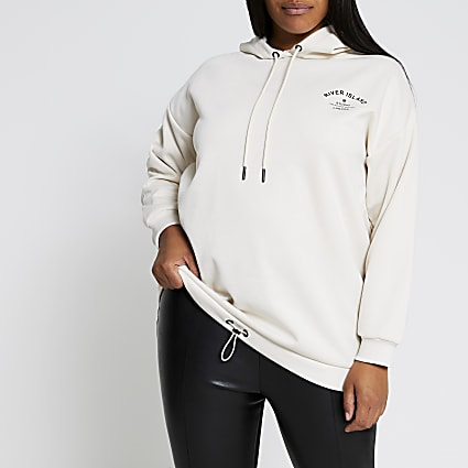 Plus cream long sleeve back print hoodie