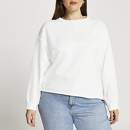 Plus cream long sleeve sweatshirt