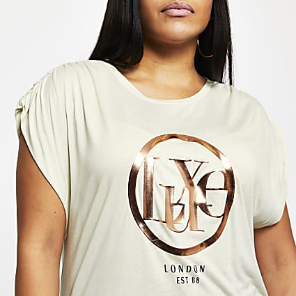 Plus cream 'Luxe' short sleeve t-shirt