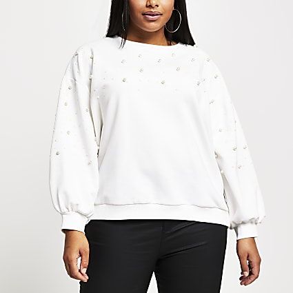 Plus Cream pearl embellished sweatshirt