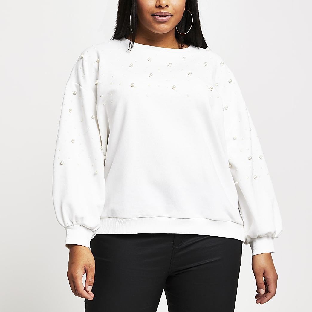 Plus Cream pearl embellished sweatshirt