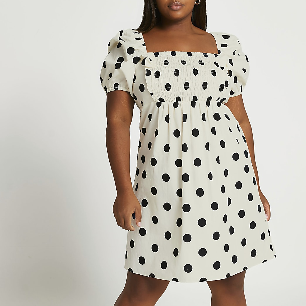 Plus cream puff sleeve shirred mini dress