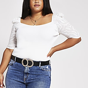 Plus cream puff sleeve square neck top