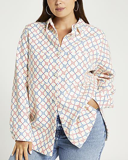 Plus cream RI monogram long sleeve shirt