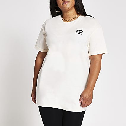 Plus cream short sleeve RR longline t-shirt