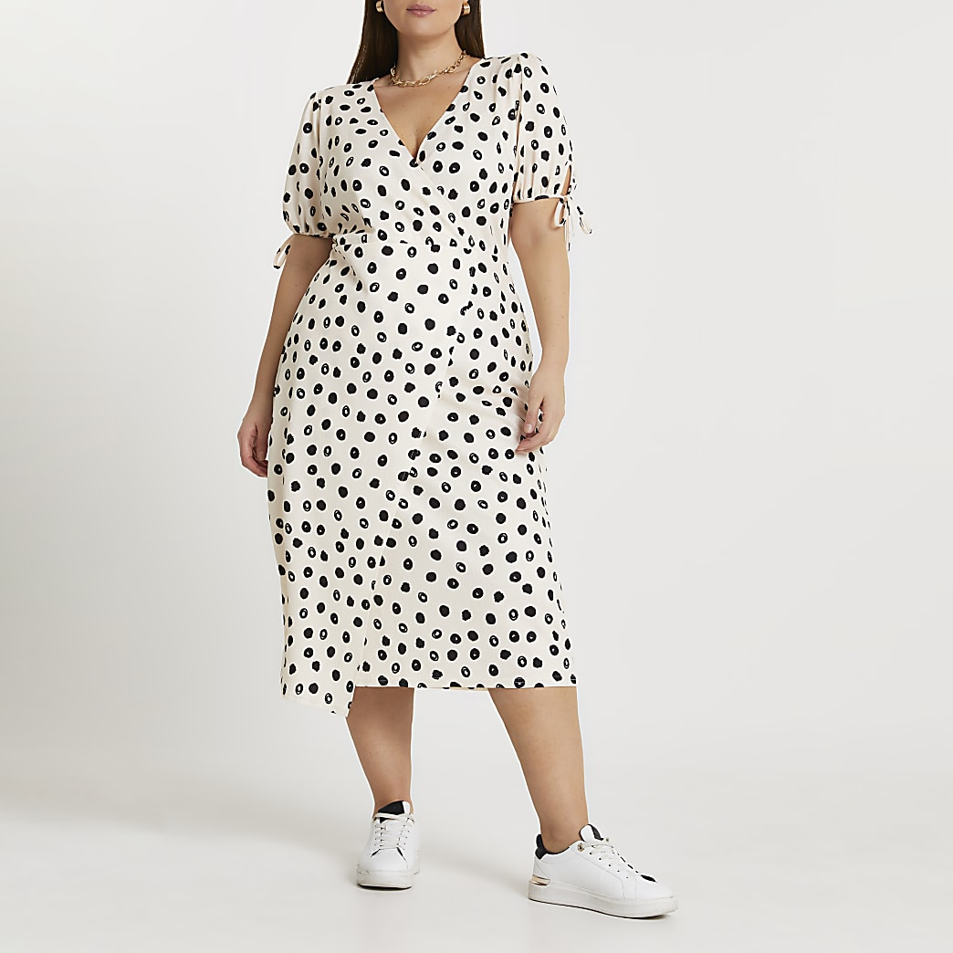 Plus cream spot print asymmetric midi dress