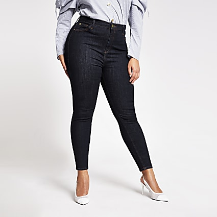 Plus dark blue high rise skinny jeans