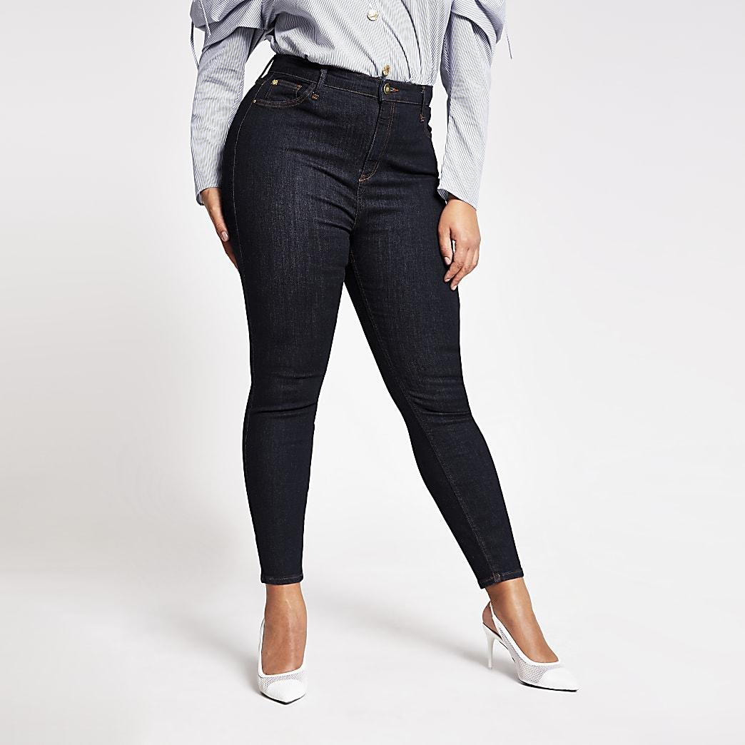 Plus dark blue high rise skinny jeans