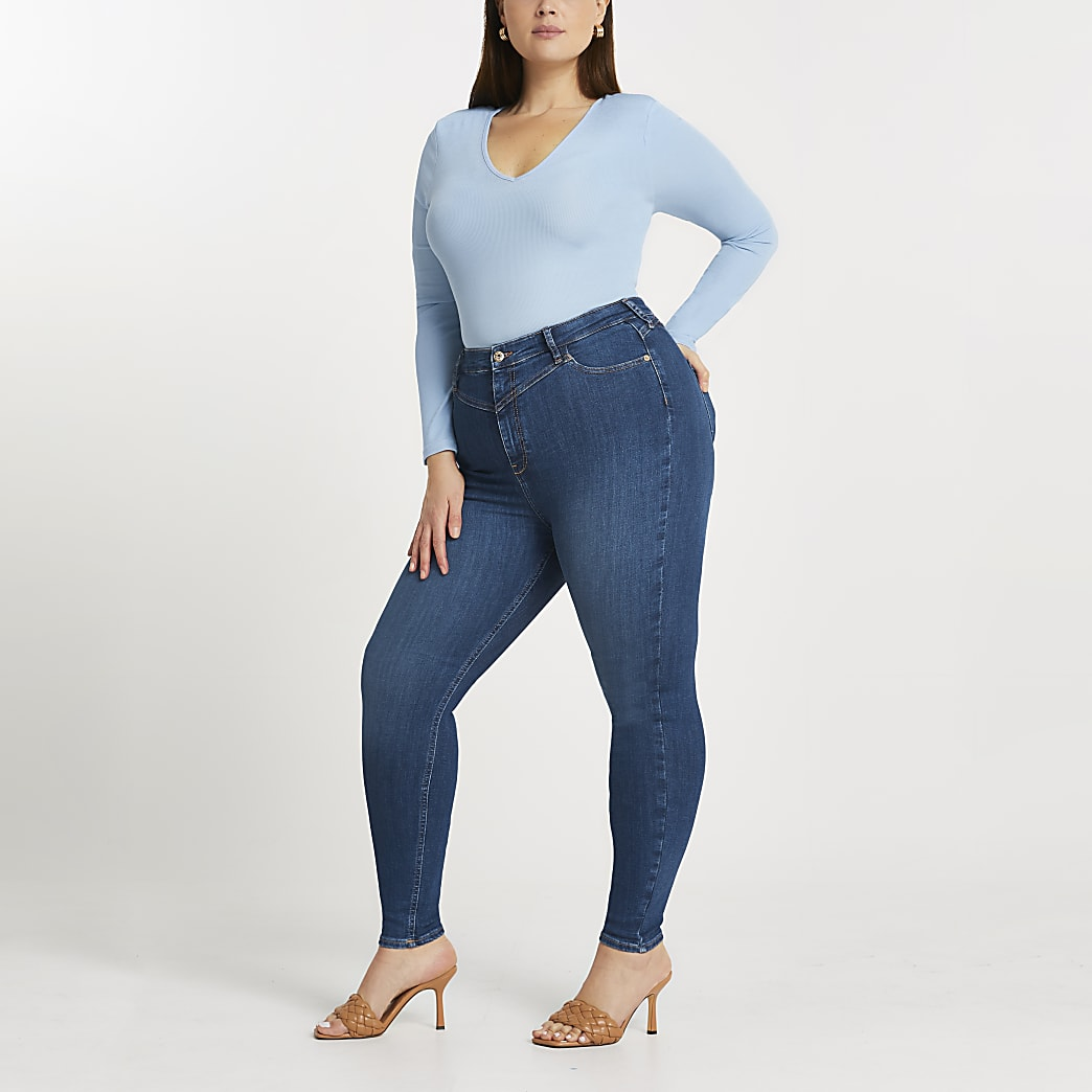 Plus Dark blue high waisted skinny jeans