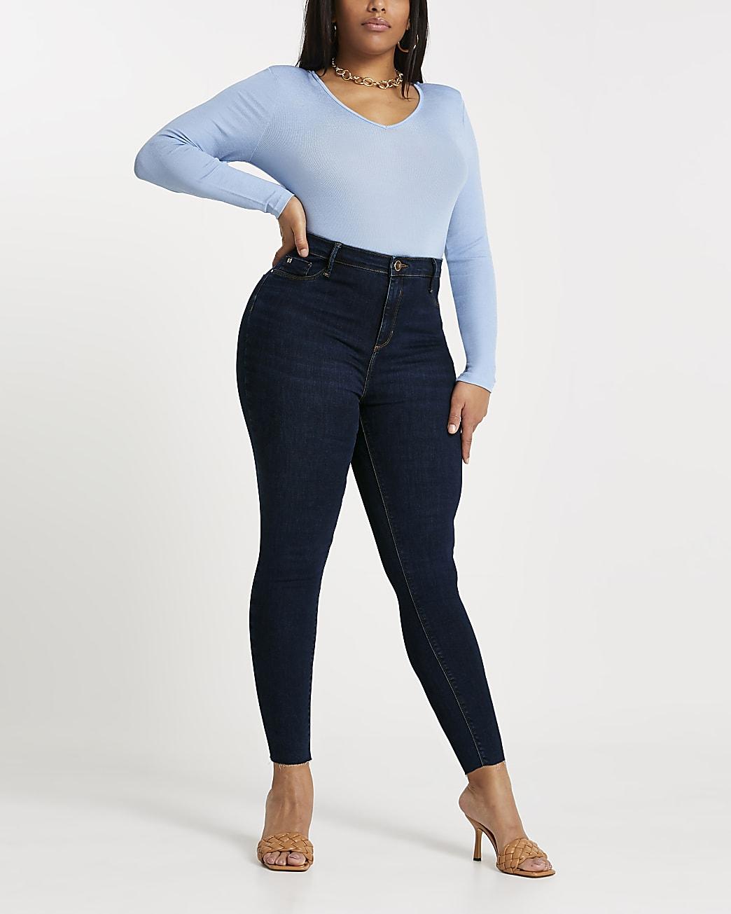 Plus dark blue Molly mid rise jeans