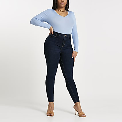Plus dark blue Molly mid rise jeggings
