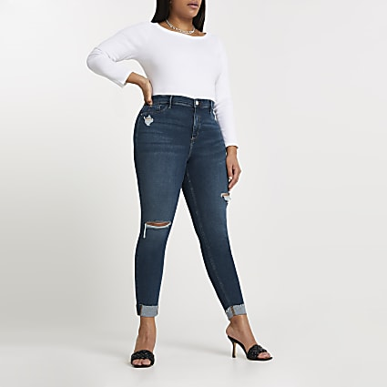 Plus dark blue Molly ripped skinny jeans