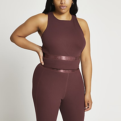 Plus dark pink racer rib top