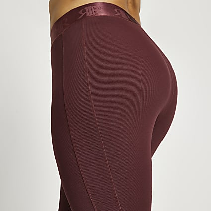 Plus dark pink rib leggings