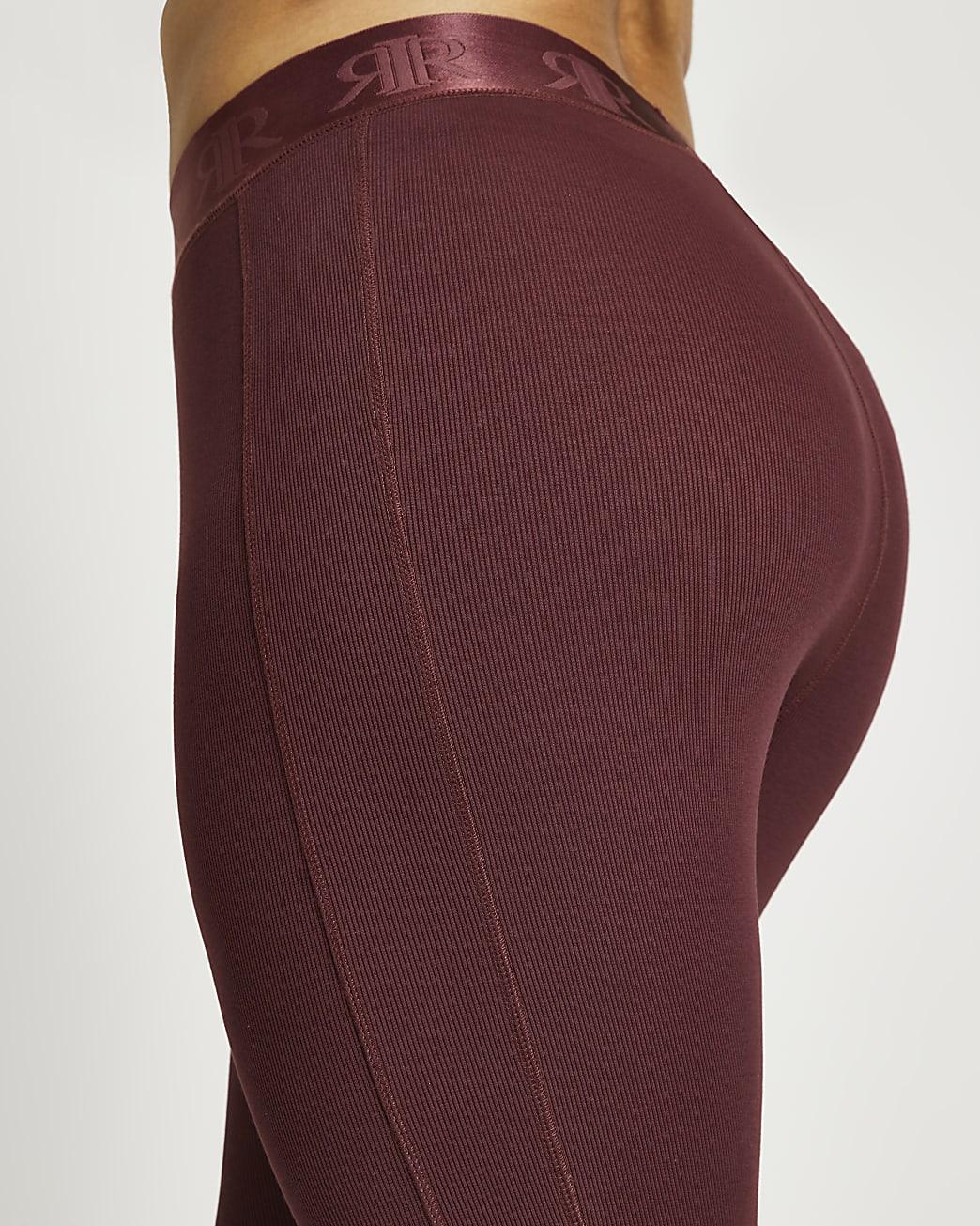 Plus dark pink ribbed leggings