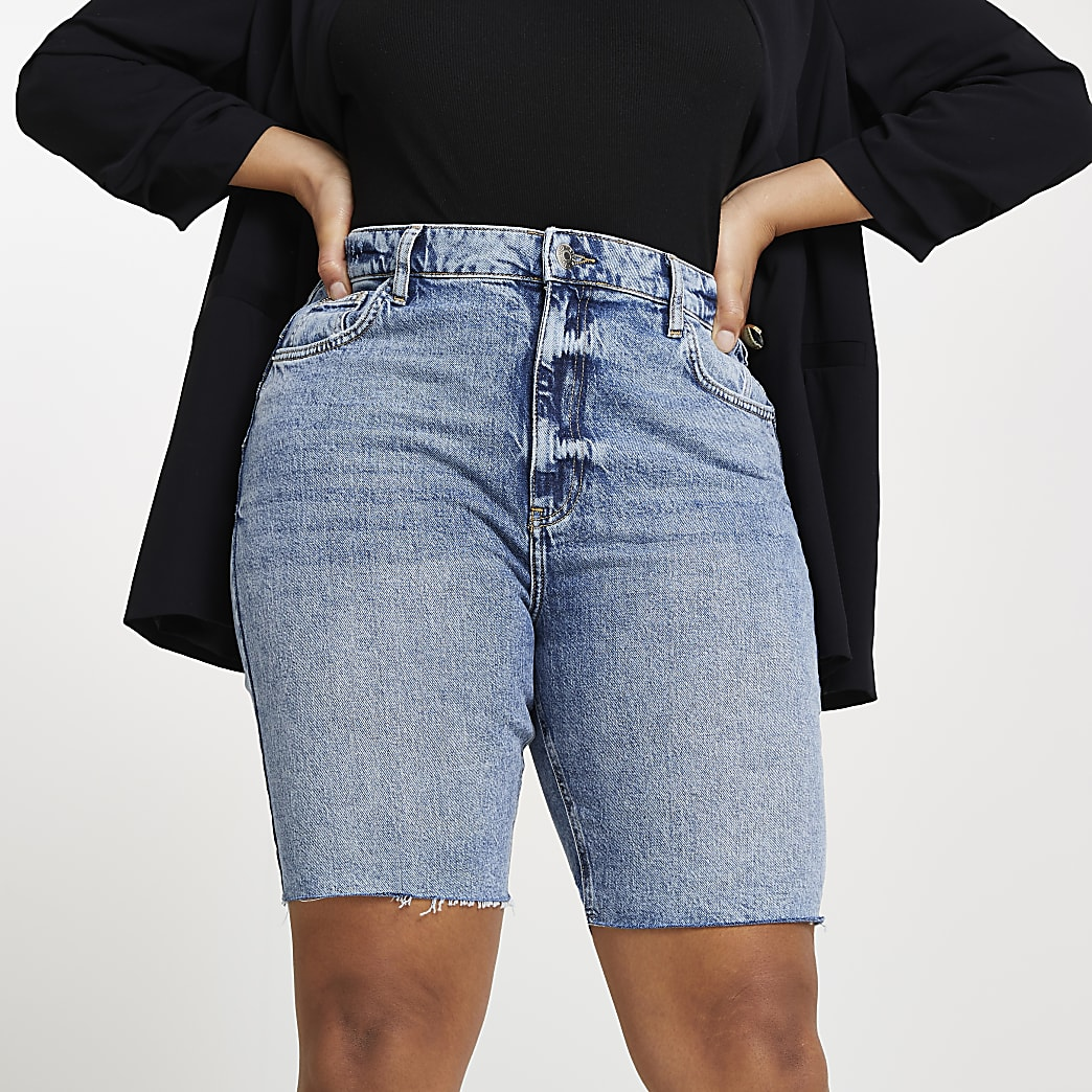 Plus denim longline mom bum sculpt shorts