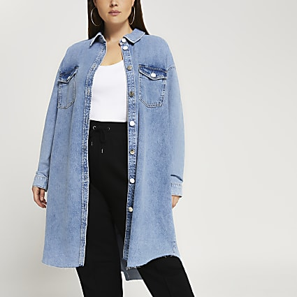 Plus denim longline shirt