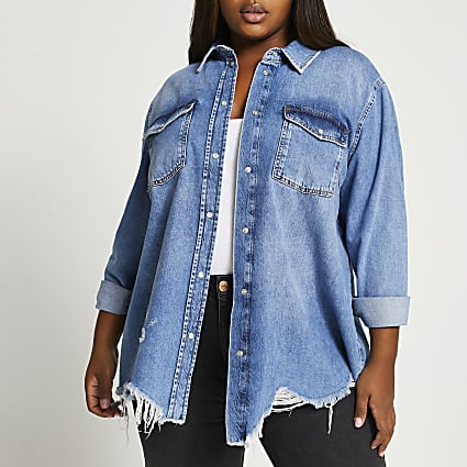 Plus denim oversized denim shirt