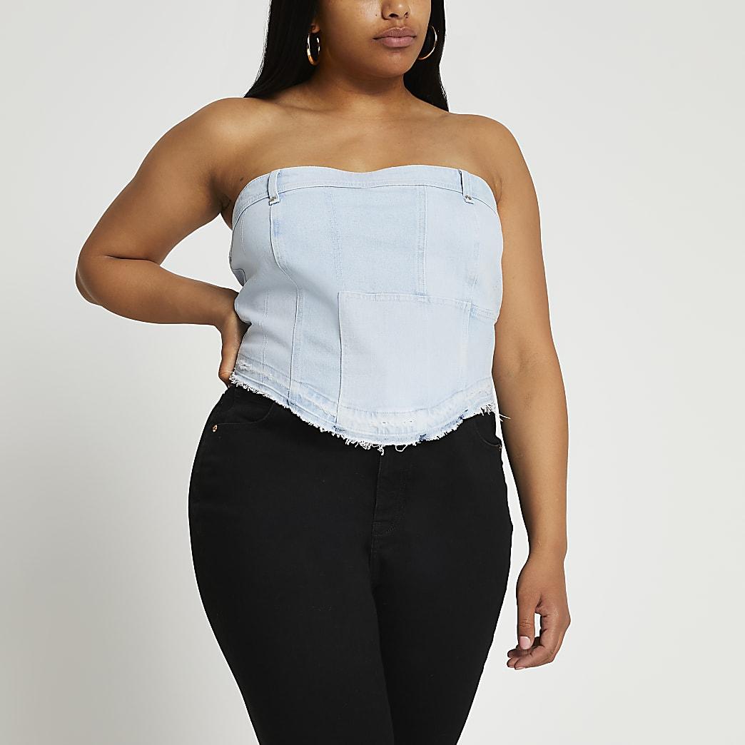Plus denim patchwork corset top