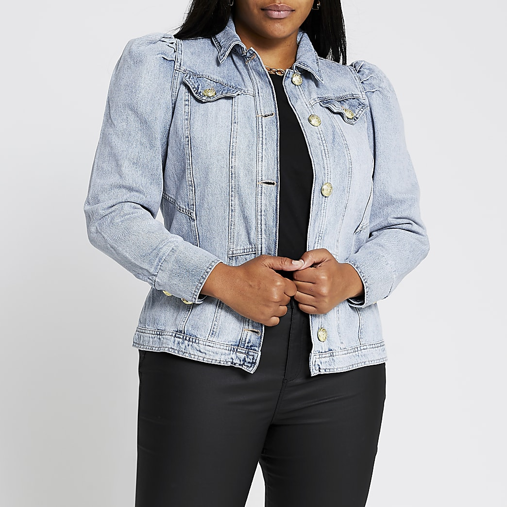 Plus Denim Puff Shoulder Jacket