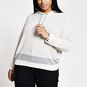 RI Plus - Ecru linnen hoodie met lange mouwen