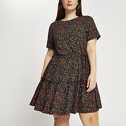 Plus floral smock dress