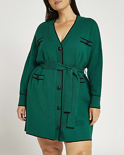 Plus green belted cardigan