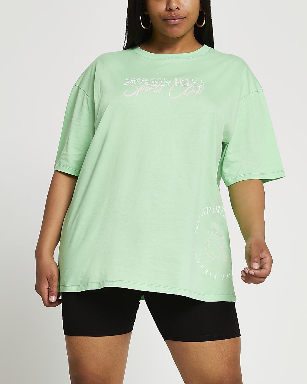 Plus green 'Beverly Hills' oversized t-shirt