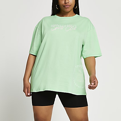 Plus green 'Beverly Hills' oversized t-shirt