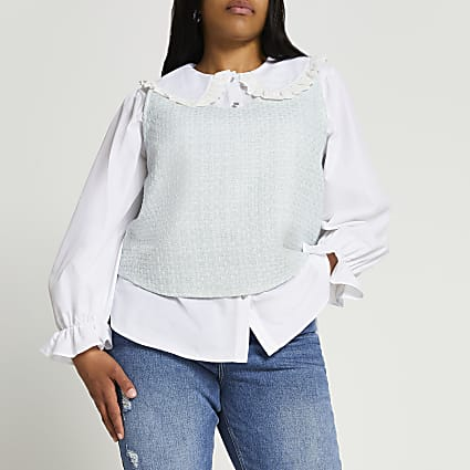 Plus green boucle hybrid collar blouse top