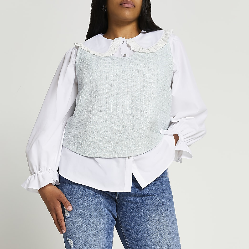 Plus green boucle hybrid collar blouse top