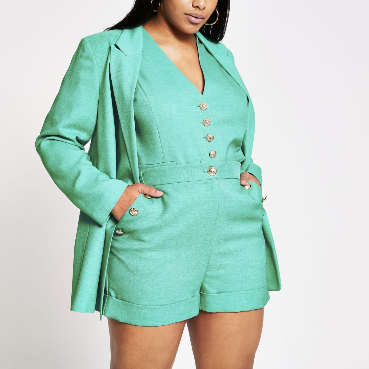 Plus green button front high rise shorts