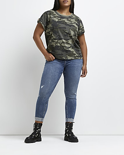 Plus green camo print t-shirt