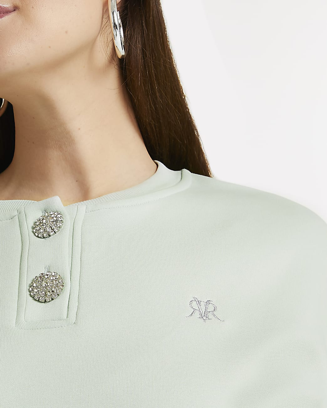 Plus green diamante button sweatshirt