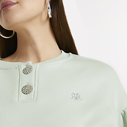 Plus green diamante button sweatshirt