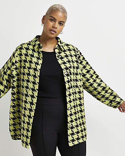 Plus green dogtooth boucle shacket