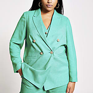 RI Plus - Groene double-breasted blazer