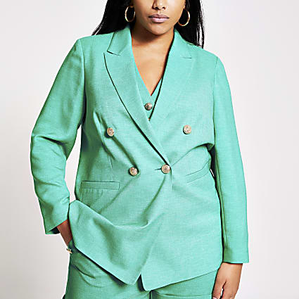 Plus green double breasted blazer