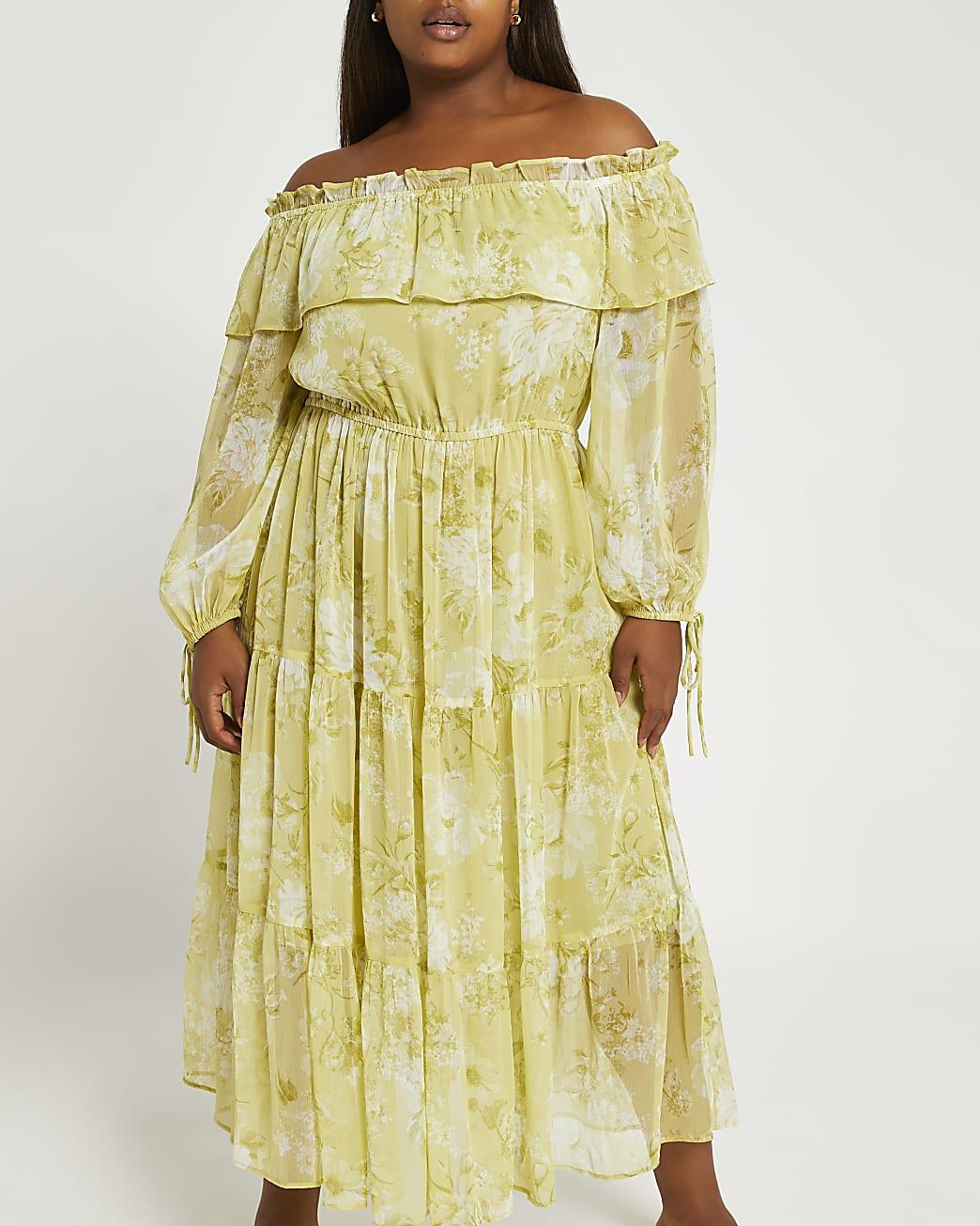 Plus green floral bardot maxi dress