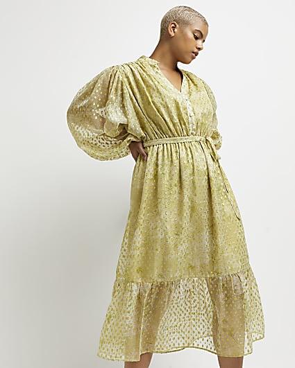 Plus green floral midi dress
