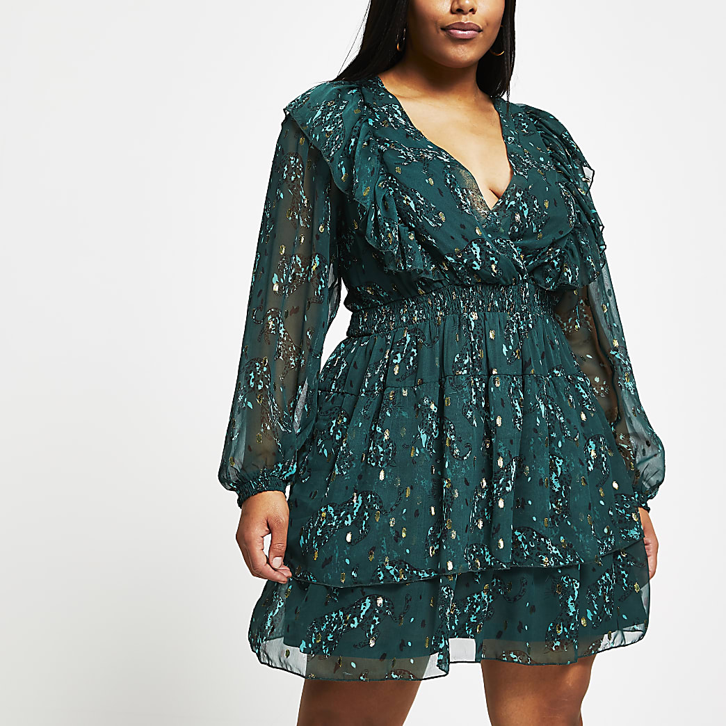 Plus green floral ruffle mini dress