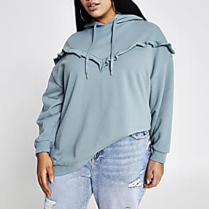 Plus green frill chevron ribbed hoodie
