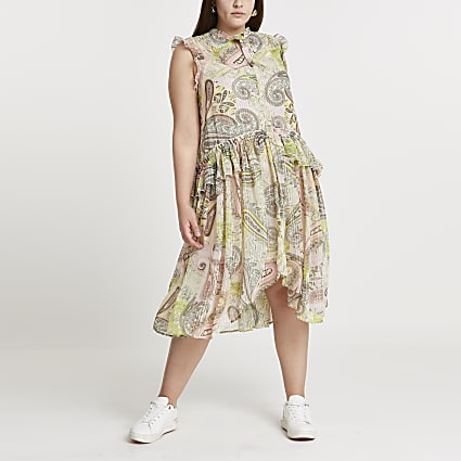 Plus green frill waist midi dress