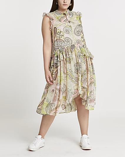 Plus green frill waist midi dress