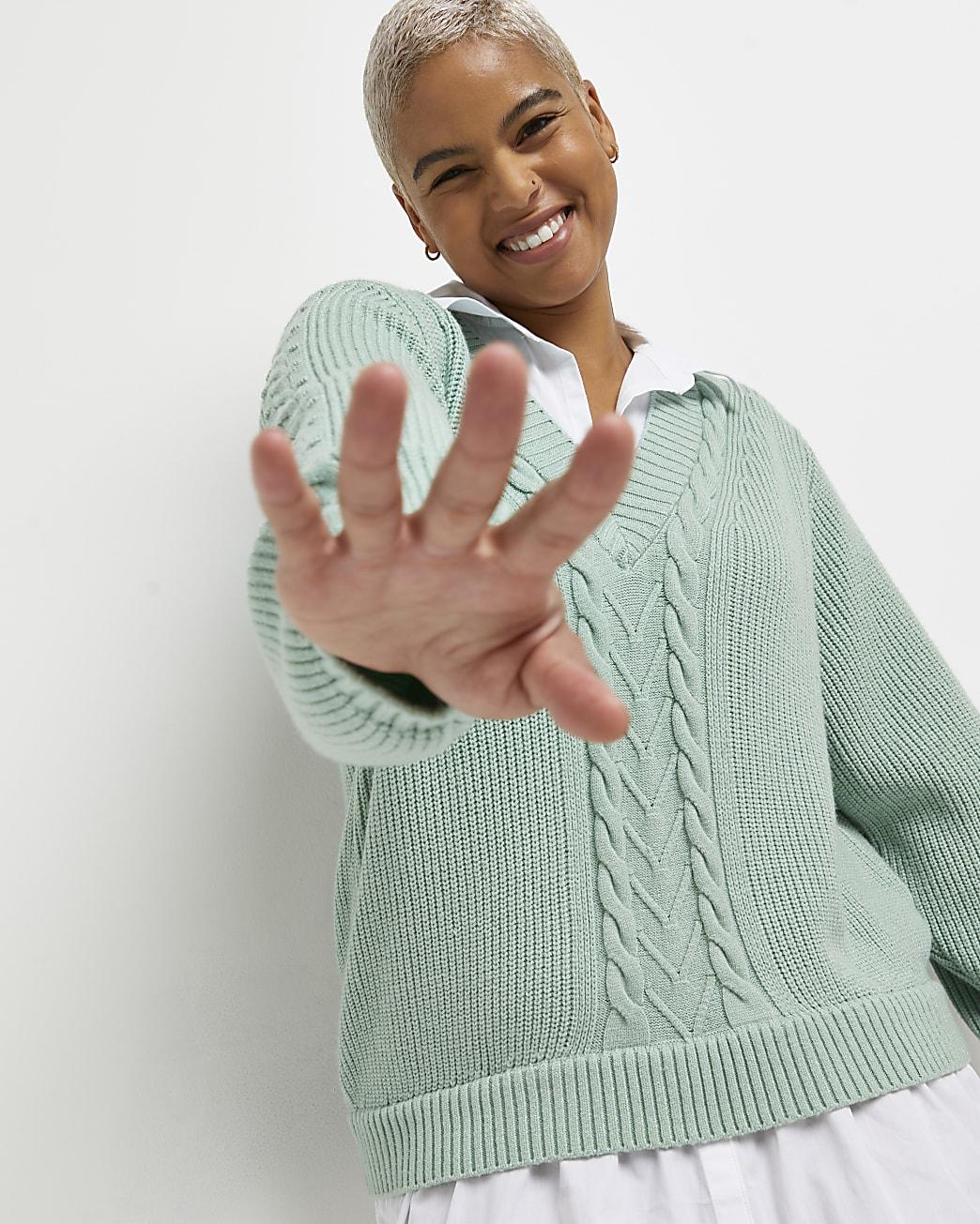 Plus green knitted shirt dress