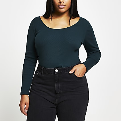 Plus Green long sleeve fitted top