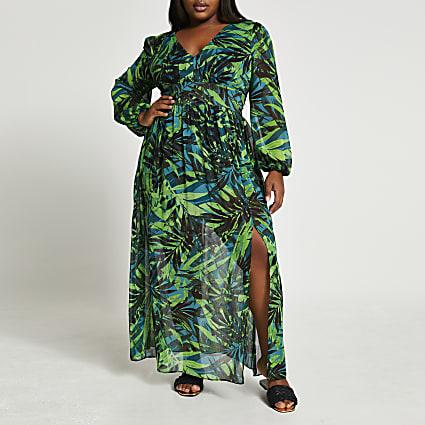 Plus green long sleeve tropical maxi dress